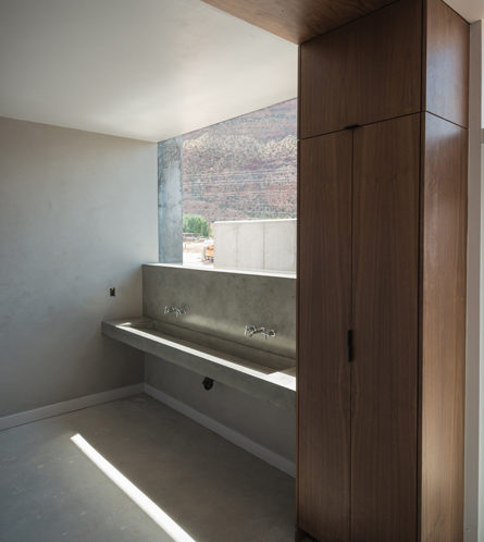 walnut bathroom modern interior space