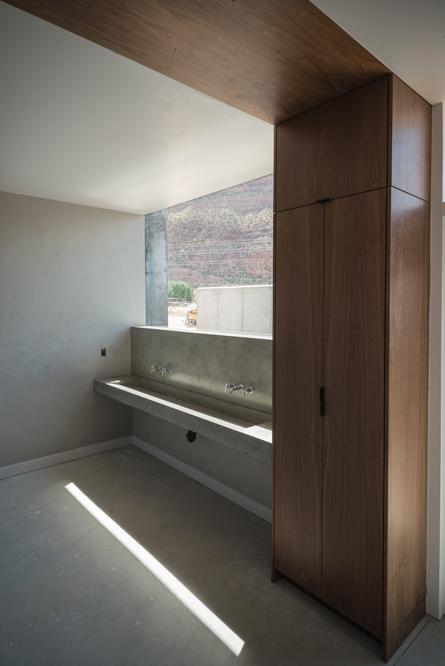 walnut bathroom modern interior space